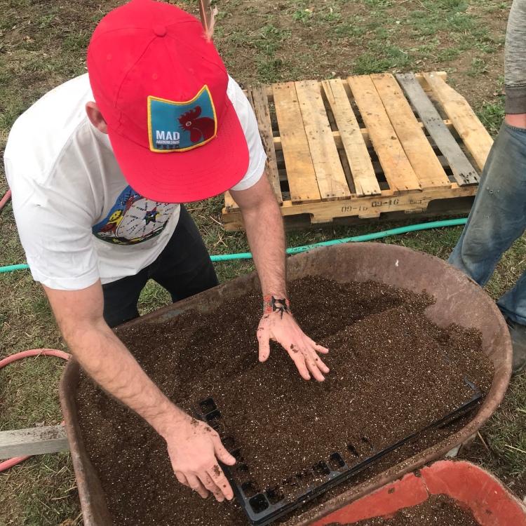 Marcus preparing seedling trays